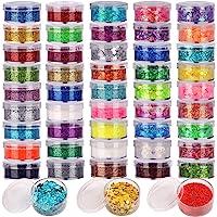 48 Boxes Glitter Set, 24 Boxes 5g Fine Glitter&24 Boxes Holographic Chunky Glitter Sequins, Iridescent Glitter Flakes…