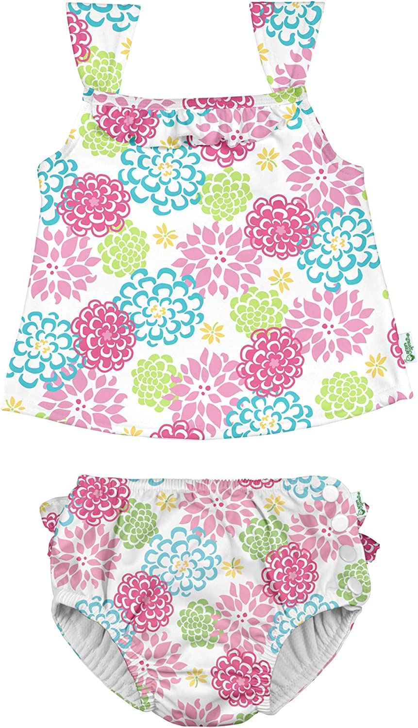 Baby Girls 2pc Ruffle Tankini Swimsuit Set with Snap Reusable Absorbent Swim Diaper i Play