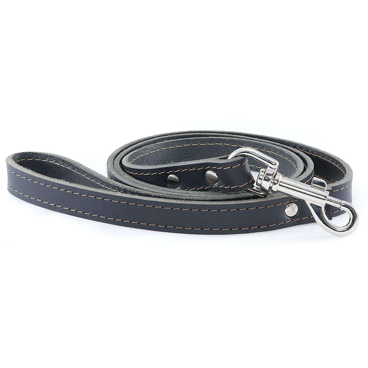 Black Zianis Braided Leather Dog Training Leash 4.2 Ft Long 0.75  Dog Walking Leash Best for Medium Large Dogs Quality Leather Dog Lead Puppy Trainer Leash with Traffic Handle Made in Europe (Black)