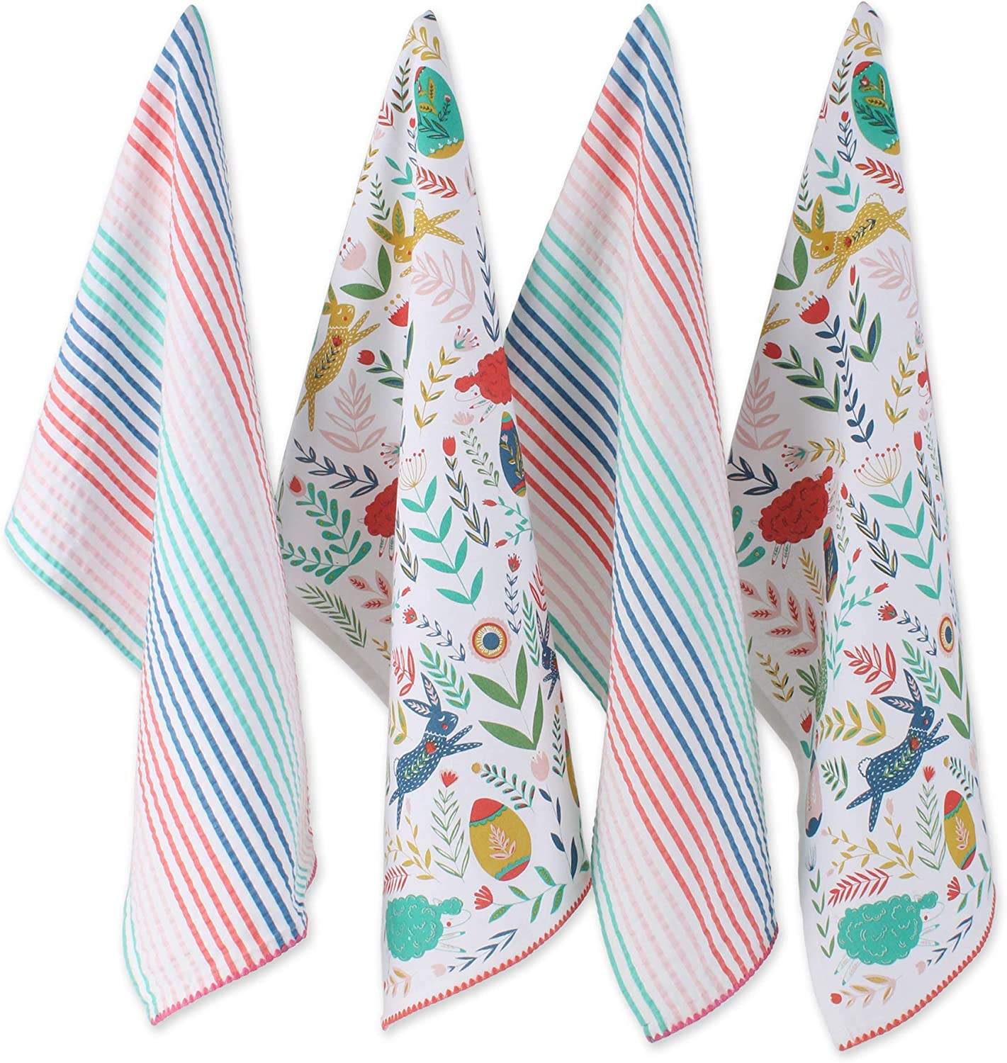 DII Folk Collection Kitchen, Dishtowel Set, Easter Garden 4 Piece