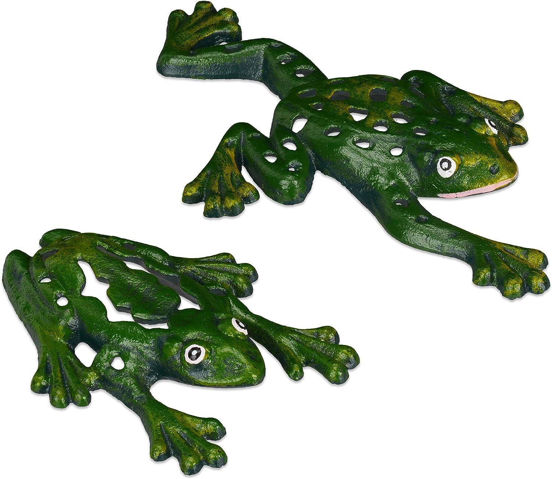 Relaxdays Frog Ornament Garden, Set of 2, Cast Iron, Weatherproof, Funny Decoration, Patio, Balcony, Terrace, Green