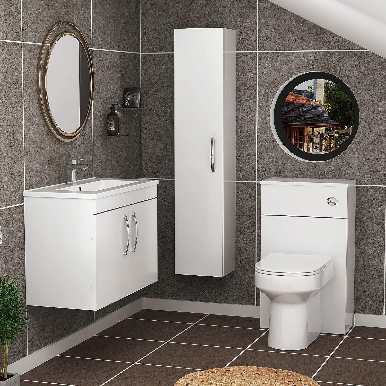 Turin 800mm/Wall Mounted Bathroom Furniture Vanity Unit Gloss White 2 Door with/Mid Edge Sink Basin
