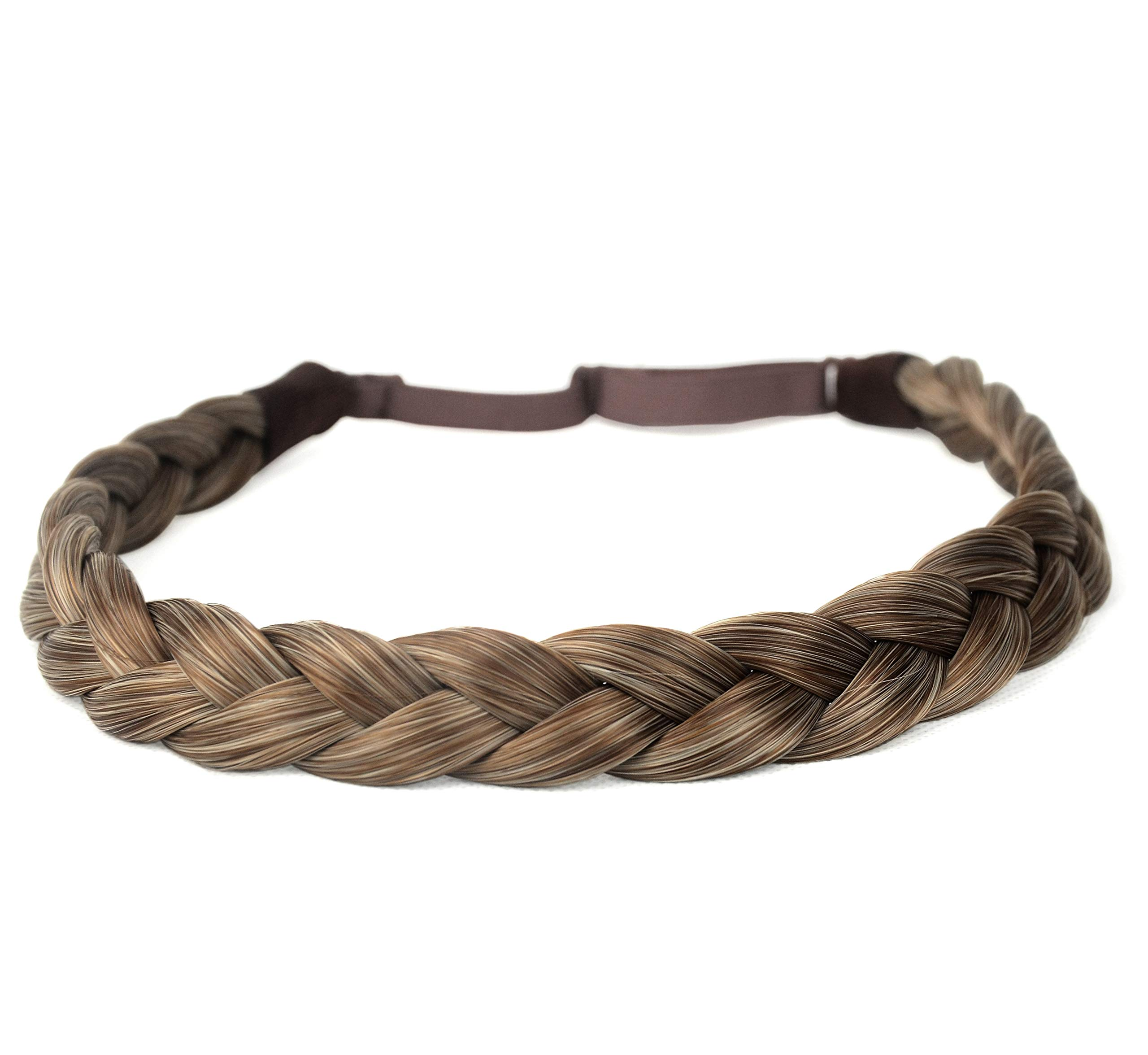 DIGUAN Synthetic Hair Braided Headband Classic Chunky Wide Plaited Braids Elastic Stretch Hairpiece Women Girl Beauty accessory, 55g aHairBeauty (#Caramel Blonde) by DIGUAN (TM)