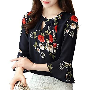Beautface Makeup Blouses Blouse Women Tops Floral Print Shirts Three Quarter Flare Sleeves Chiffon Blusas