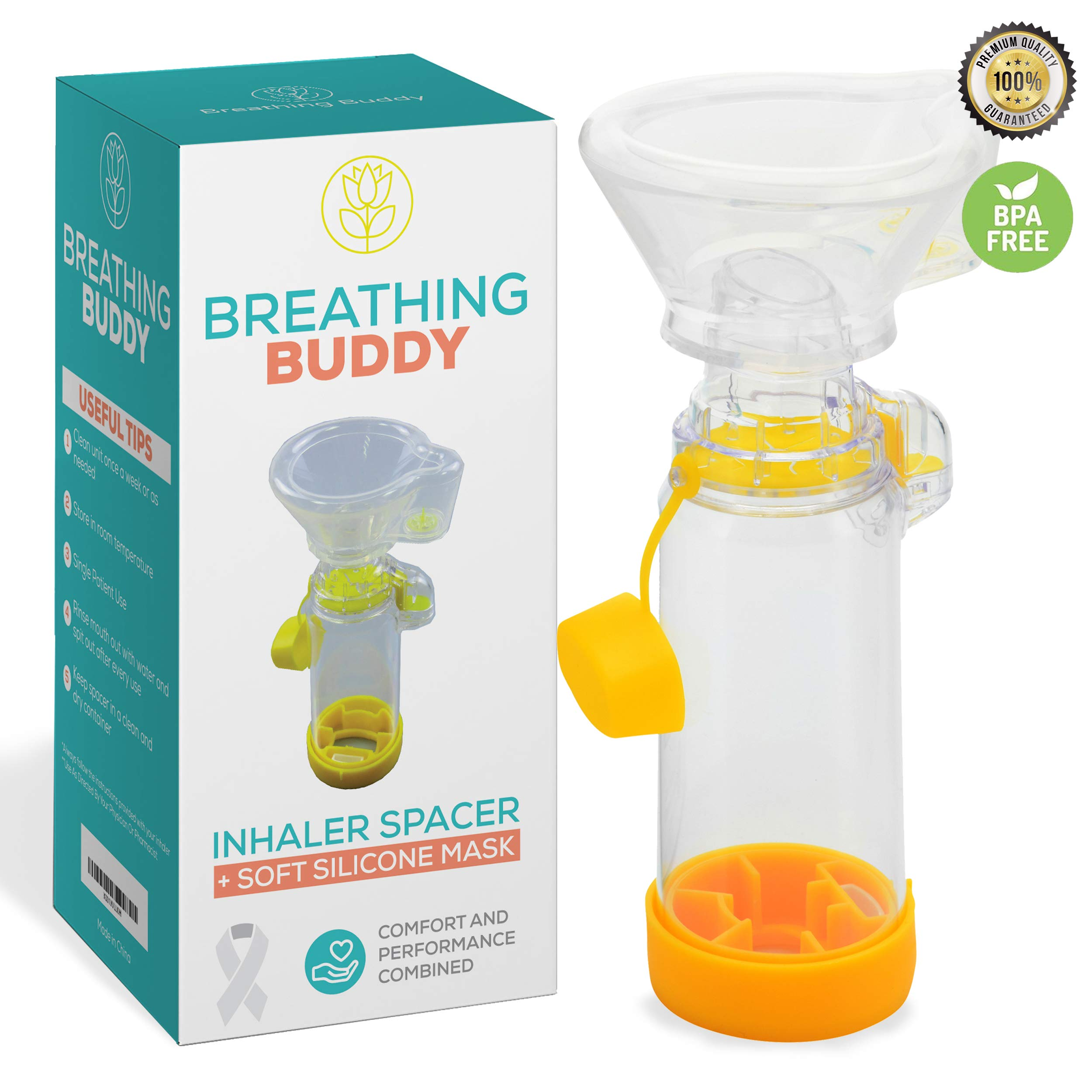Spacer for Children- Includes Mask I Fits All Sizes I BPA-Free, Non-Toxic I Upgraded Version w/Visual Air Flow Indicator & Flow Whistle | Compact & Lightweight I Kids Medium/Adult Small by Breathing Buddy