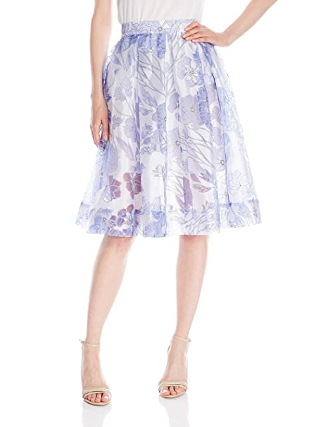 dbfc53ec38b French Connection Women's Collection Water Garden Sheer Skirt, Summer White  Multi, ...