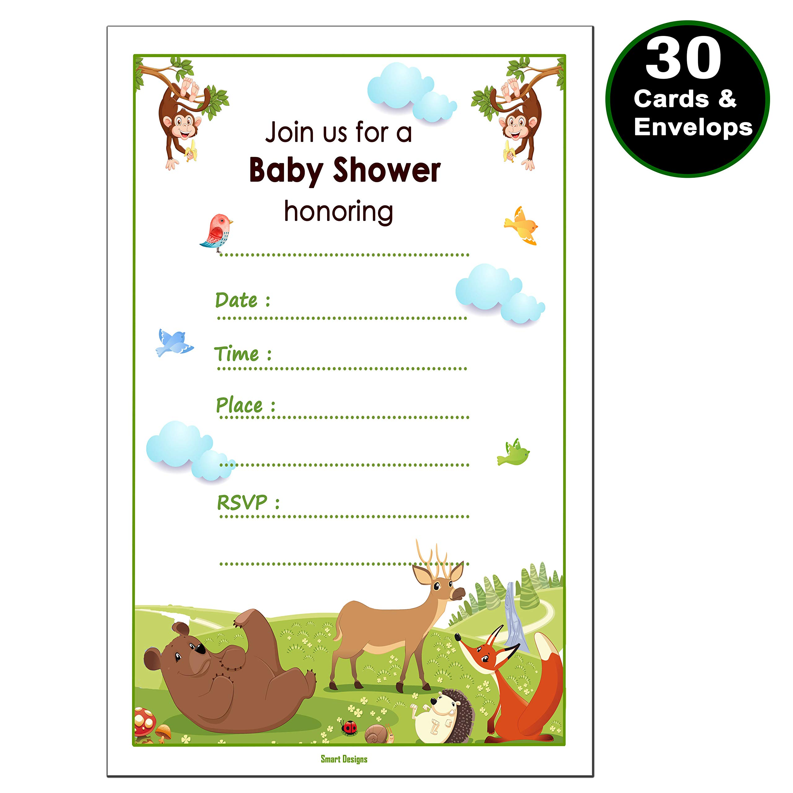 30 Baby Shower Invitations Boy or Girl (with 30 Envelopes) - Gender Neutral - Fits Perfectly with Safari Jungle Zoo Animals Baby Shower Decorations and Supplies