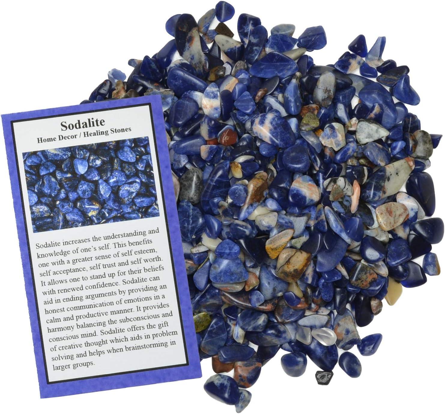 Digging Dolls: 1 lb of Tumbled Sodalite Chip Stones - Polished Rocks for Crafts, Art, Vase Filler, Decoration, Reiki, Crystal Jewelry Making and More!
