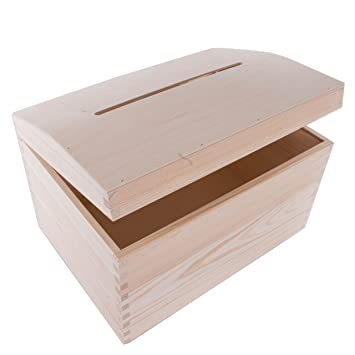 Caja de madera para boda con ranura/Tarjetas Dinero Drop/Wishing Well/Plain madera regalo/35 x 25 x 25 cm: Amazon.es: Hogar