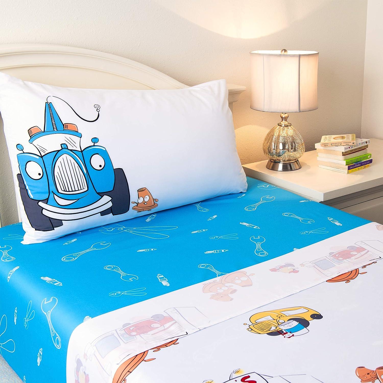 JumpOff Jo 3-Piece Hypoallergenic Microfiber Sheet Set for Kids Bedding, Twin, Jo's Garage