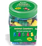 "Eureka Tub Of Animal Counters, 100 Counters in 3 3/4"" x 5 1/2"" x 3 3/4"" Tub"