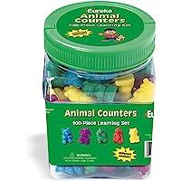 "Eureka Tub Of Animal Counters, 100 Counters in 3 3/4"" x 5 1/2"" x 3 3/4"" Tub"