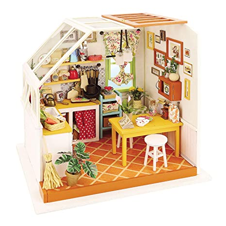 Amazon Com Robotime Diy Miniature Kitchen Model Kit Toys Games