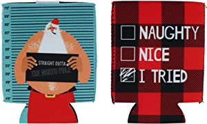 Uncle Bob's Holiday Drink Sleeves 2-Pack, Naughty, Nice, I Tried
