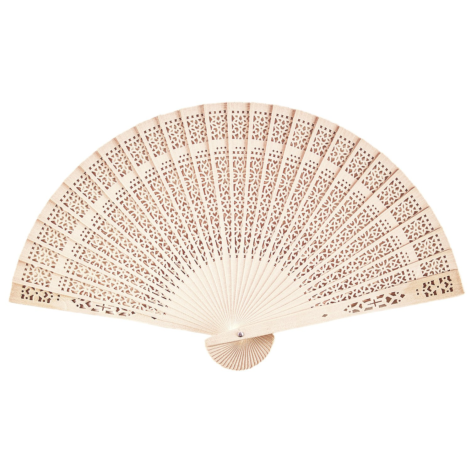 Chinese Sandalwood Scented Wooden Openwork Personal Hand Held Folding Fans for Wedding Decoration, Birthdays, Home Gifts by Super Z Outlet (12 Pack)
