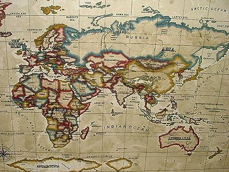 1 metre prestigious textiles atlas world map antique designer cotton 1 metre prestigious textiles atlas world map antique designer cotton curtain upholstery fabric gumiabroncs Choice Image
