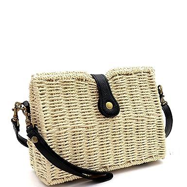 e4b4474d24 Woven Summer Beach Straw Bali Flap Boxy Small Clutch Shoulder Bag Cross  Body Clutch