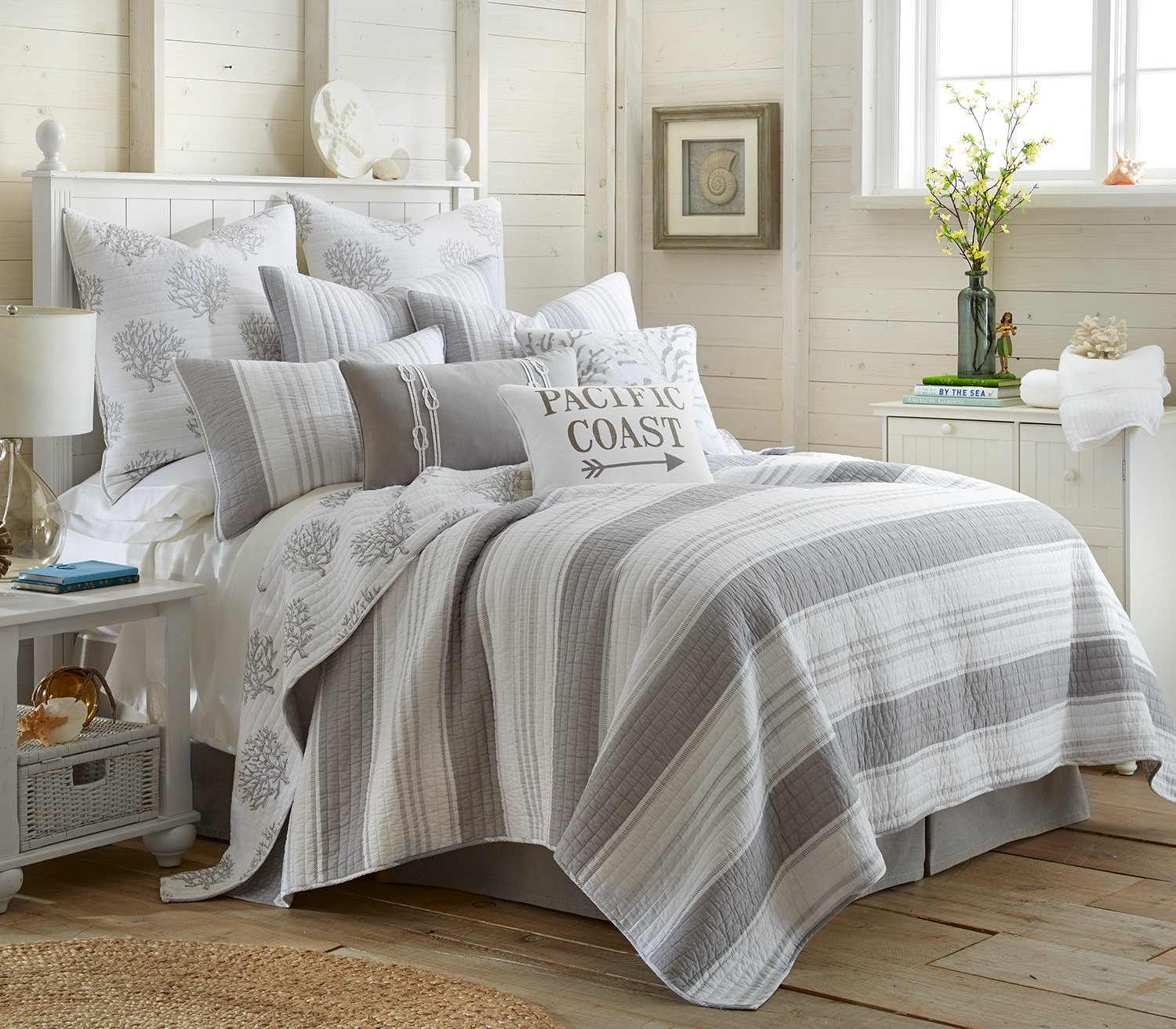 Nantucket Full/Queen Cotton Quilt Set Stripe Coastal