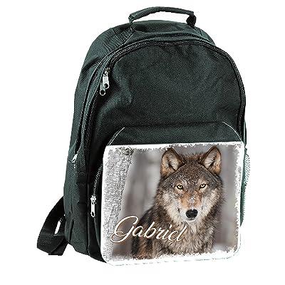 Sac a dos Cartable loup personnalisé avec prénom