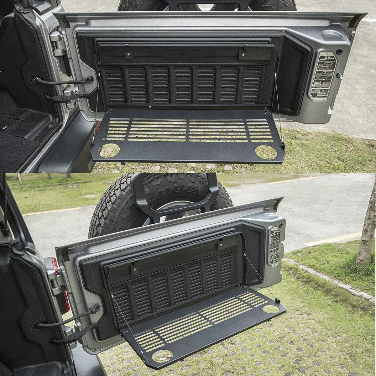 LE-JX Wrangler Black Flexible Rear Door Table Foldable Storage Cargo Shelf Rack Rear Luggage Holder Carrier Compatible with 2018 2019 Jeep Wrangler JL JLU Trunk Multi-Purpose Foldaway Tailgate Table