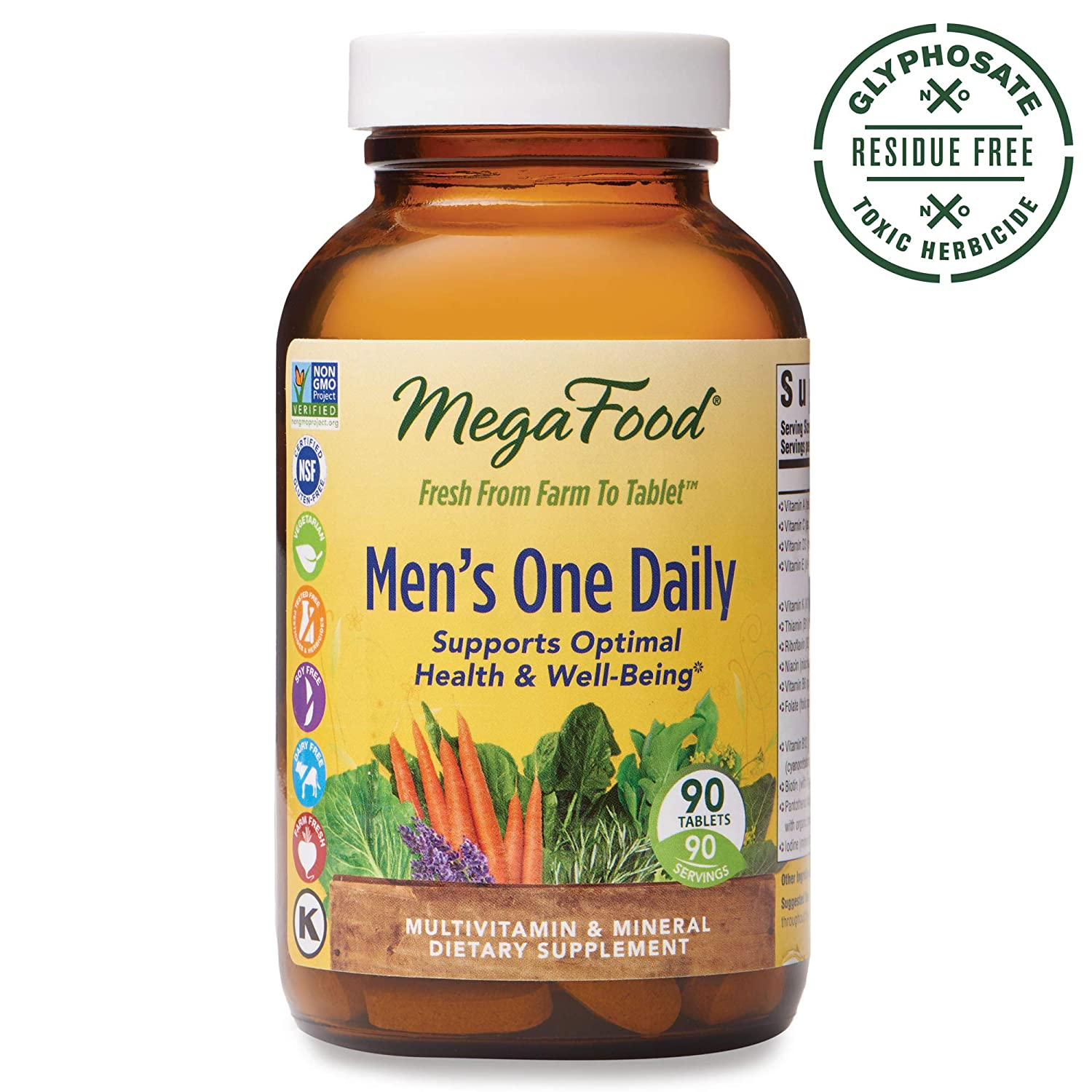 MegaFood, Men s One Daily, Daily Multivitamin and Mineral Dietary Supplement with Vitamins B, D and Zinc, Non-GMO, Vegetarian, 90 Tablets 90 Servings FFP