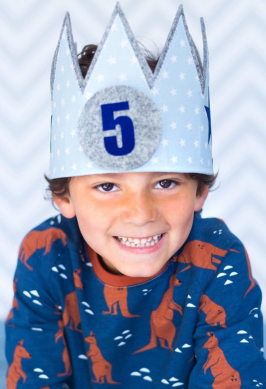Geburtstagskrone Der Wollprinz Krone, Kinder Geburtstag-Krone Kinderkrone Geburtstagskrone, Stoffkrone Blau
