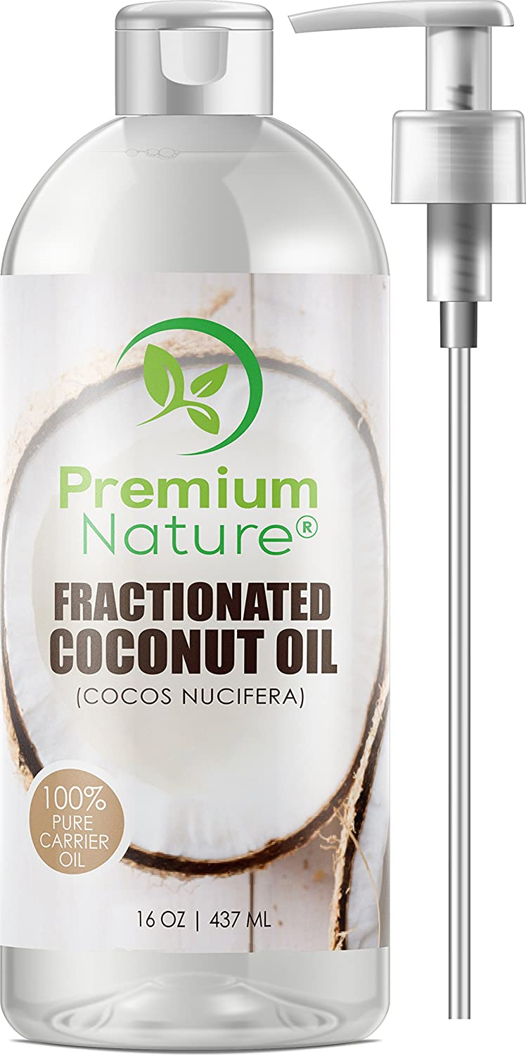 Fractionated Coconut Oil Massage Oils - Liquid MCT Natural & Pure Body Oil Carrier Massage Oil for Hair & Skin 16 Oz Clear Pump Included Premium Nature