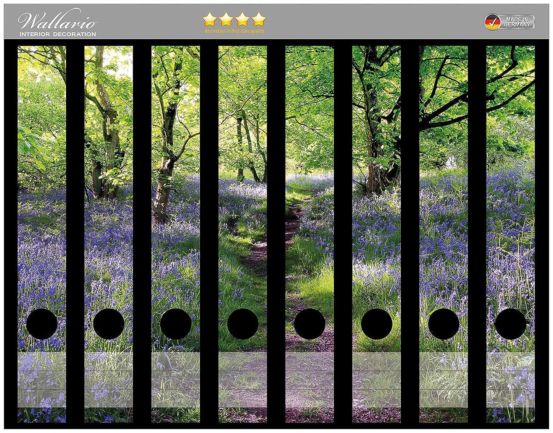 Wallario Ordnerr/ücken Sticker Blaues Hasengl/öckchen im Wald in Premiumqualit/ät passend f/ür 8 schmale Ordnerr/ücken Gr/ö/ße 8 x 3,5 x 30 cm