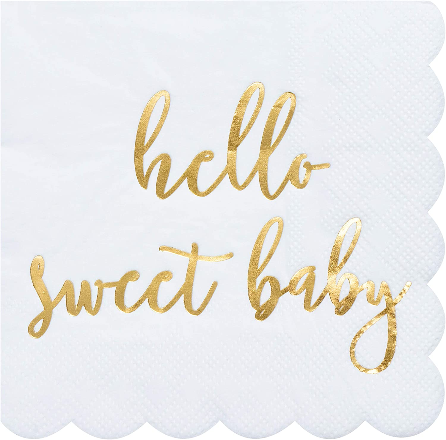 Juvale Scalloped Edged Baby Shower Party Napkins (5 x 5 in, Gold Foil, 50-Pack)