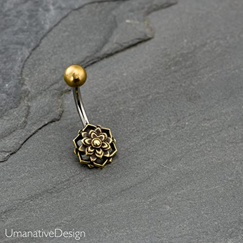 Flower Mandala Belly Button Ring Brass Surgical Steel Tribal Indian Navel Piercing 14g Handmade Body Jewelry