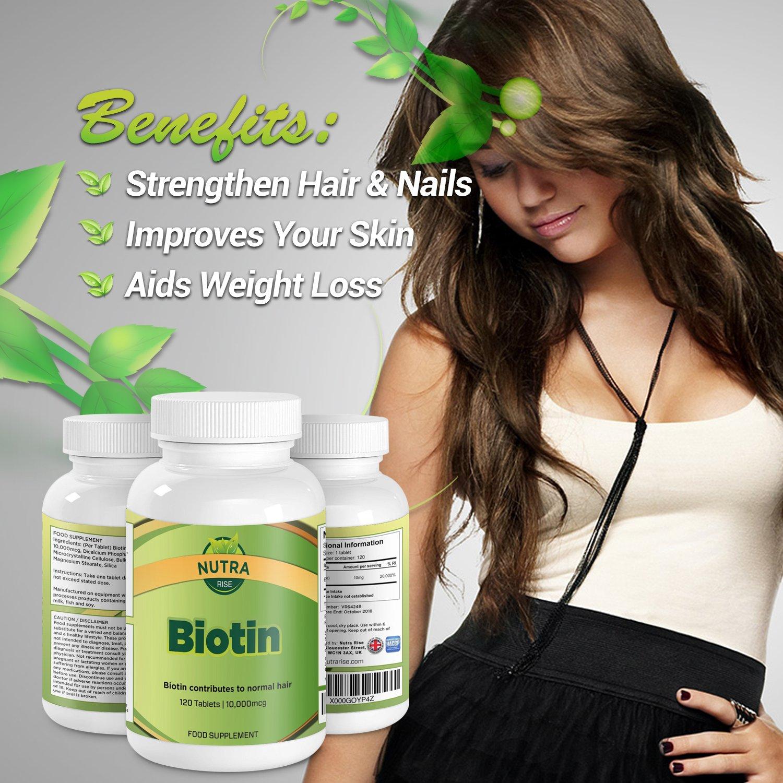Vitaminas Biotina para el Crecimiento del Cabello, 10mg, la Mejor Potencia Máxima dada por la Vitamina B7 para un Cabello, Uñas y Piel Saludable, ...