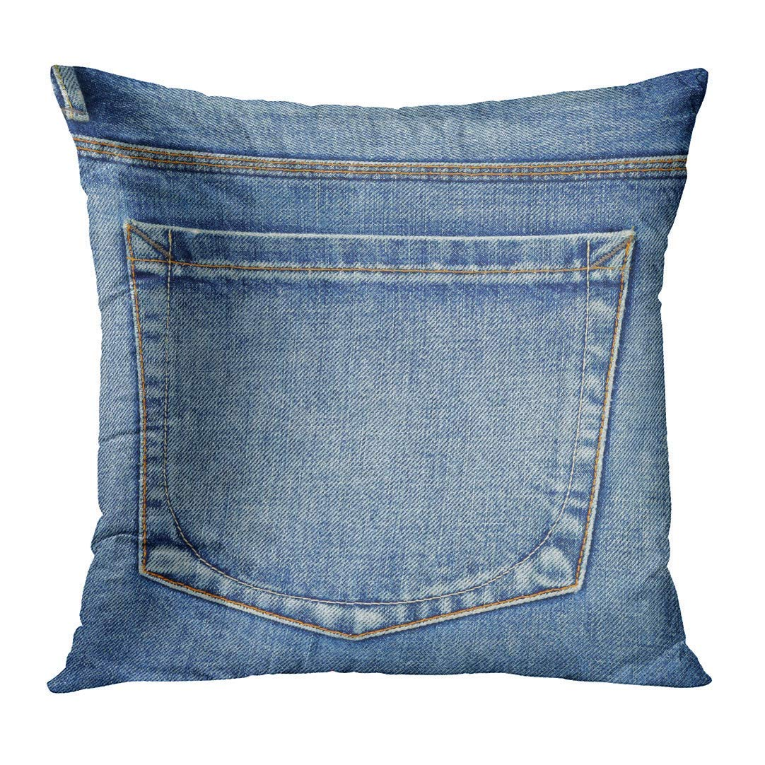 Blue Country Empty Back Pocket of Jeans Denim Western Decorative Pillow Case Home Decor Square 18x18 Inches Pillowcase DeerLiKang