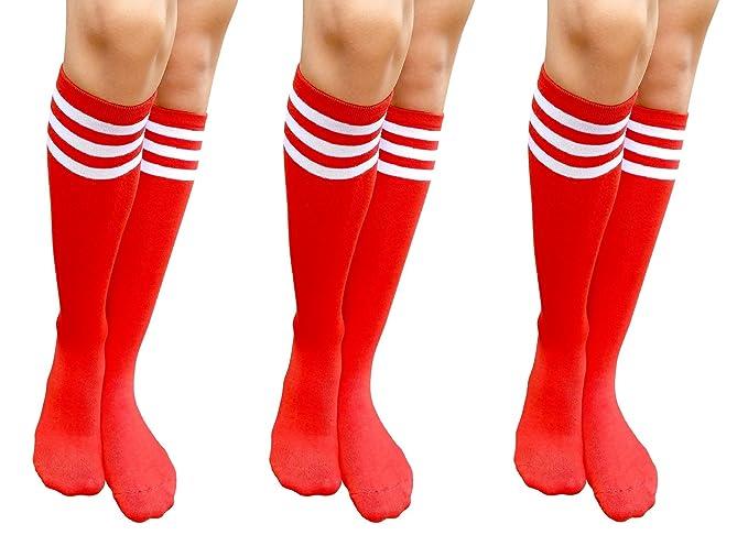 3c408d2ee AM Landen Women s 3 pairs Casual Red Three White Stripes Knee High Socks  Girls socks