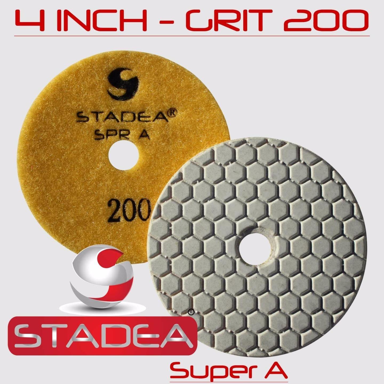STADEA 4'' Dry Diamond Polishing Pads for granite Marble Concrete Stone Granite Tile Polishing Kit - 5 Pcs Pads, 1 Rubber Backer (5/8'' 11) Set by STADEA (Image #5)