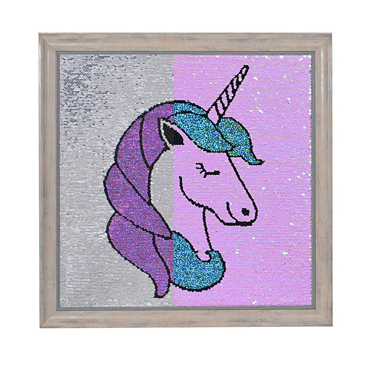 Unicorn Sequin Wall Art Reversible Wall Posters Decoration Unicorn Room Decor Gifts for Kids Nursery Bedroom (17'' × 17'') by Besutolife