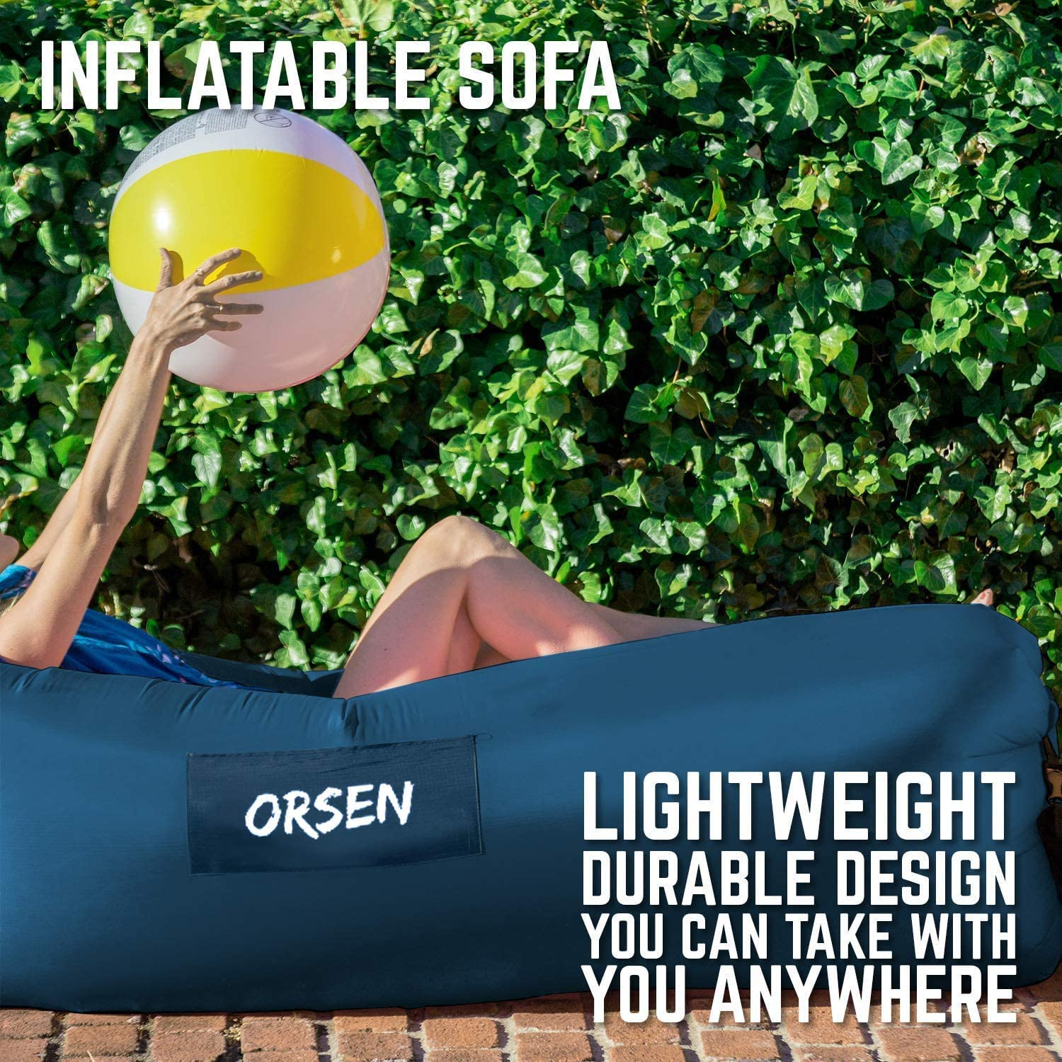 Waterproof Air Sofa Chair with Carry Bag,Inflatable Couch Air loungers Lazy bag for Indoor//Outdoor Camping,Beach,Swimming Pools,Park,Garden,Travelling etc Orsen Inflatable Lounger