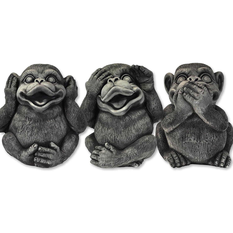 Singes de la sagesse 3 singes import/és de Tha/ïlande D/écoration 10271 en pierre reconstitu/ée