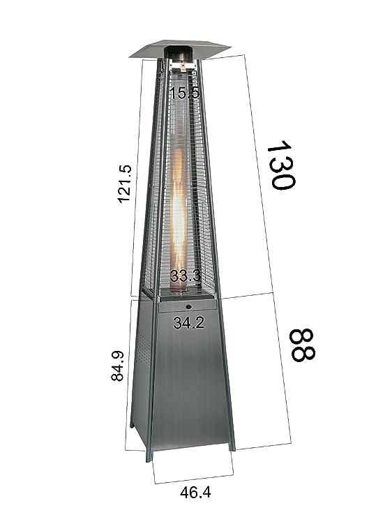 Estufa gas exterior, 49.50 x 49.50 x 227 cm, Acero inoxidable Bcalpe BFH-A-SS: Amazon.es: Jardín