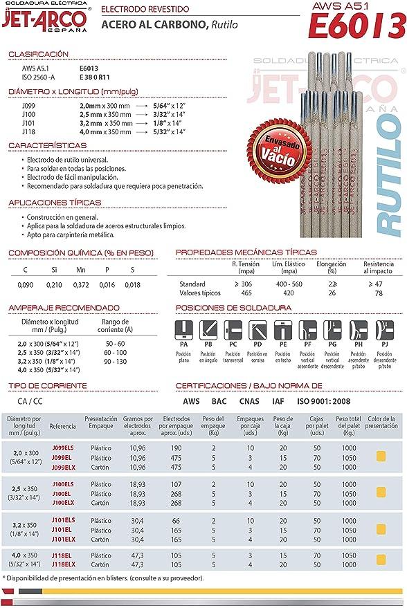 Electrodo Rutilo 6013 para soldadura de Acero al Carbono /Ø 2,5mm x 350mm. Paquete 5 Kg Ref.: J100EL AWS A5.1 E6013 JET-ARCO Espa/ña Hierro, Acero dulce MMA