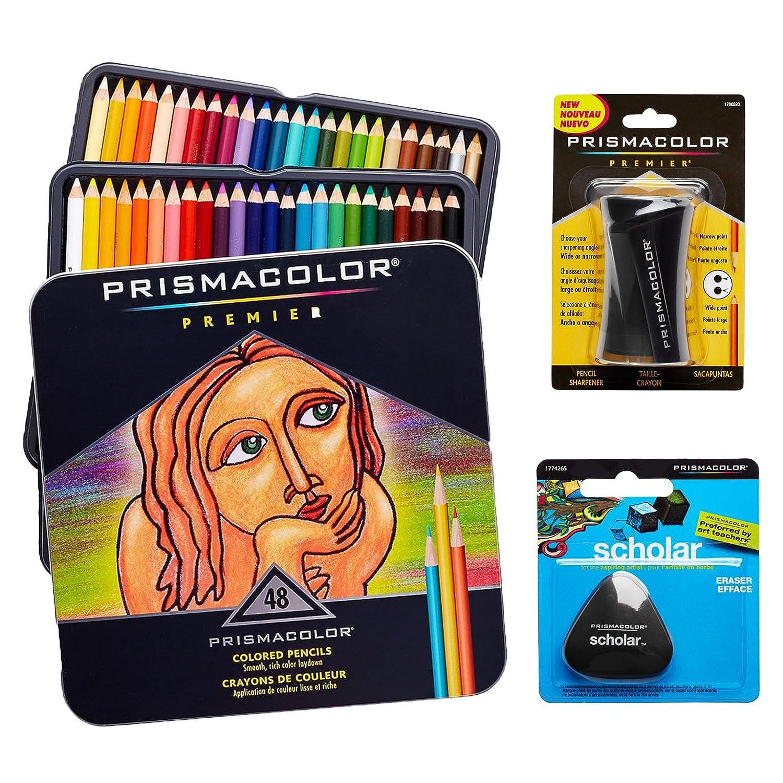 48 pastelli colorati Prismacolor Premier con temperino e gomma priva di lattice Scholar 48PK+SHARP+ERASER