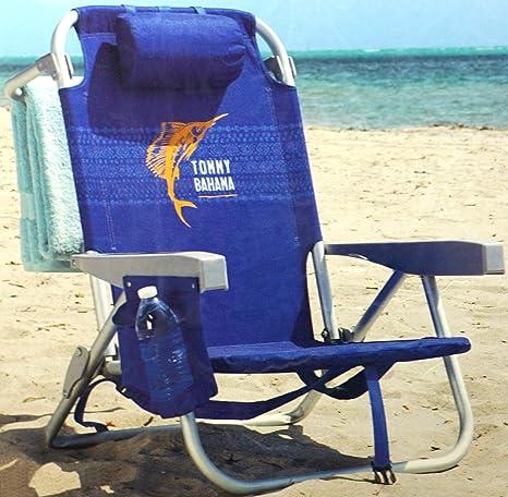 Tommy Bahama Silla de Playa Tipo Mochila Reclinan 5 Posiciones (Azul)