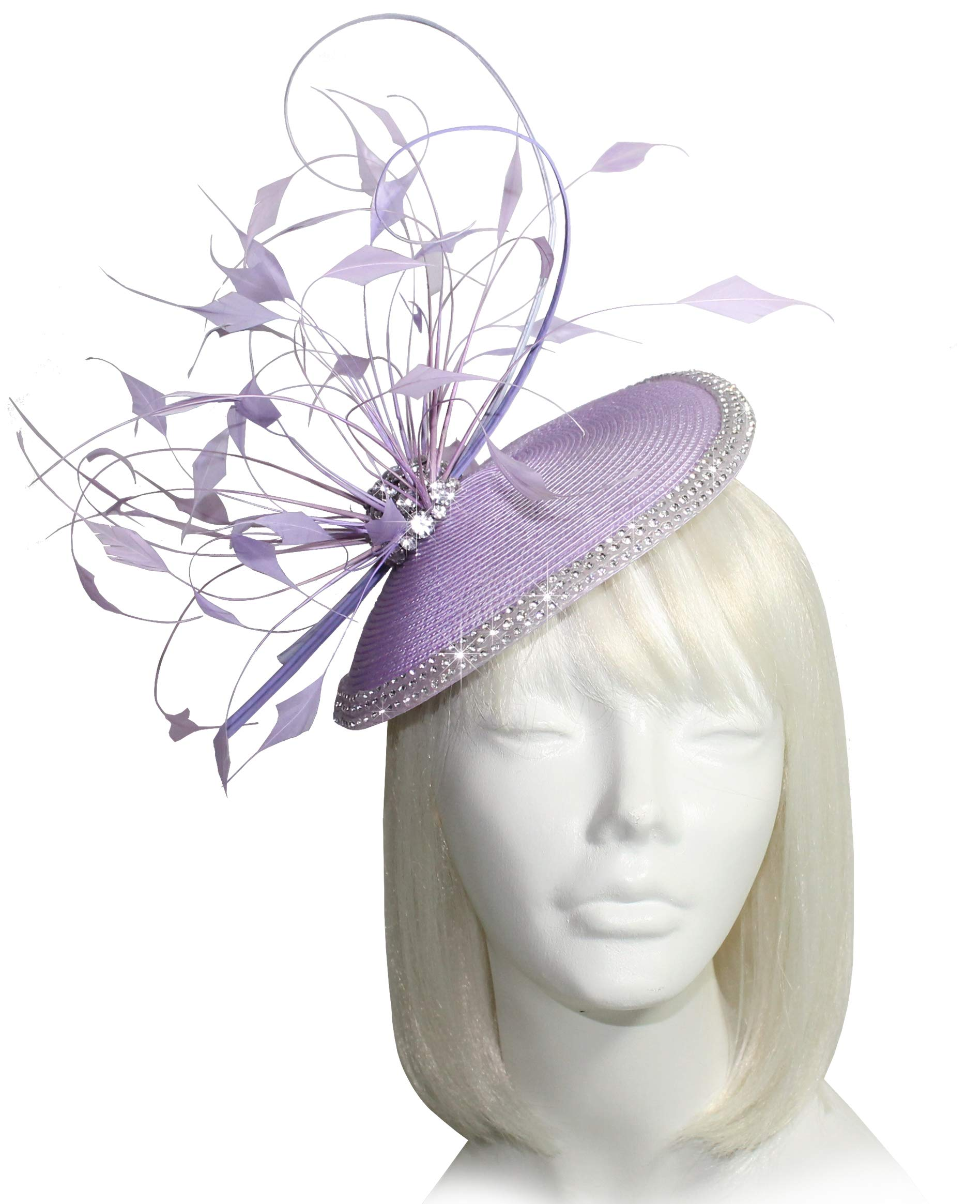 Mr. Song Millinery Kentucky Derby Profile Dish Fascinator Headband - AF110 Lavender