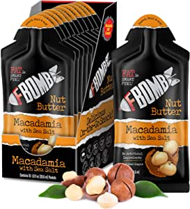 FBOMB Macadamia Nut Butter, Keto Fat Bombs: All-Natural Energy From Healthy Fats | Low Carb, Paleo, Keto Snacks With No Added Sugar | Macadamia & Sea Salt - 1 oz Packets