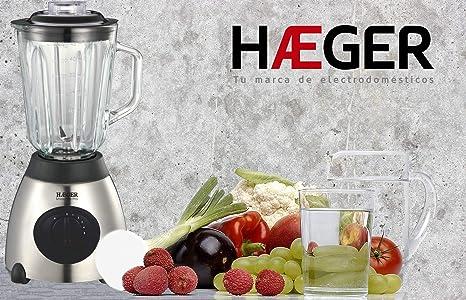 HAEGER SMOOTHIE PRO - Batidora de vaso de 600W, jarra de vidrio desmontable de 1,5 litros, 5 velocidades, 6 cuchillas acero INOX, picadora de hielo: ...