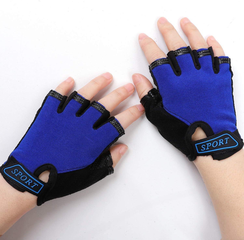 Deeko Half Finger Gloves,Breathable Sport Gloves for 4-9 Years Cycling Biking,Blue