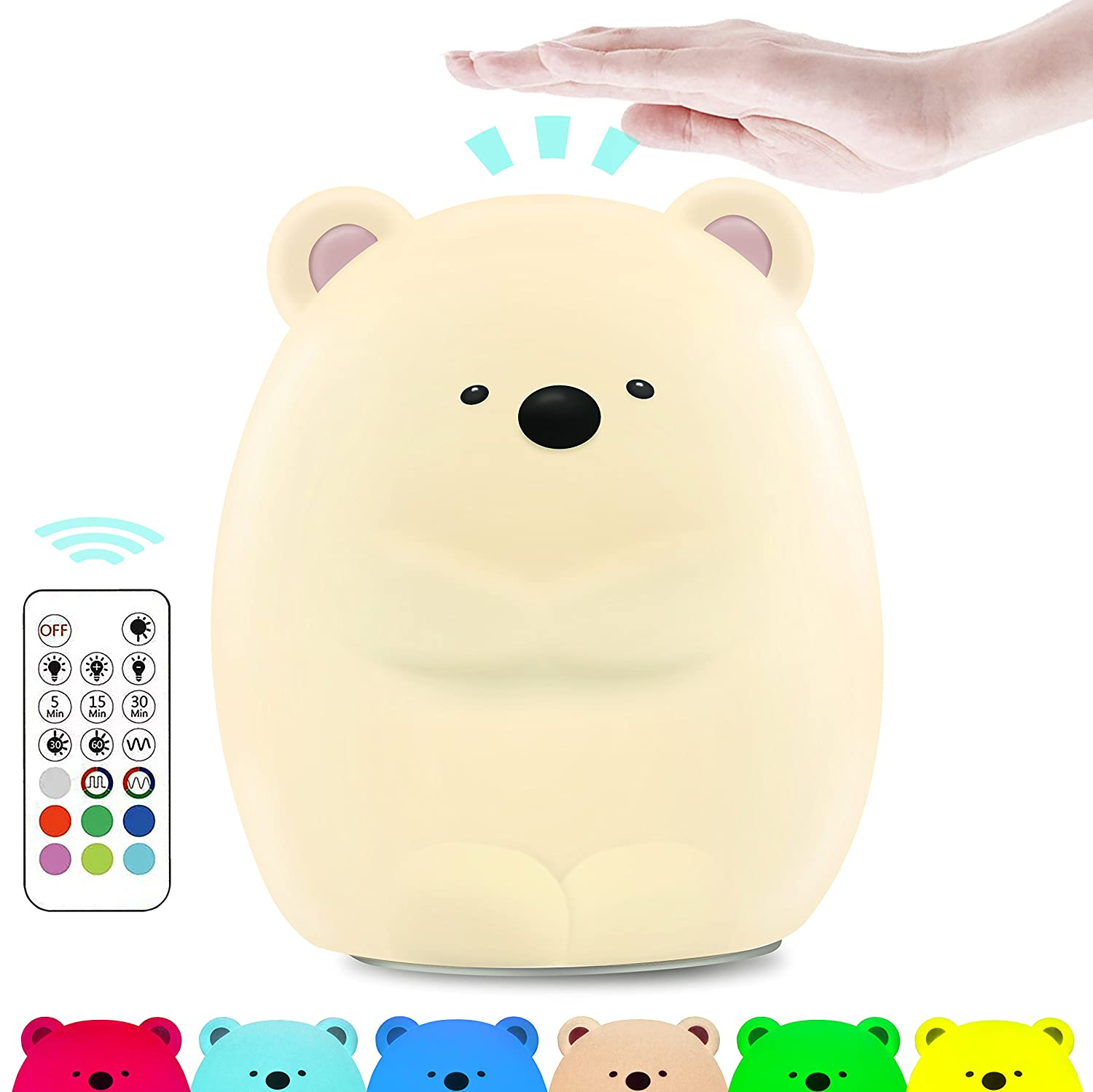 Cute Night Light for Kids, Makion The Logy Bear Touch & Rmote Control Soft Silicone Nursery Night Light for Boys and Girls,Dimmable 7 Color Changing Bright Nightlight shenzhen panda technology co. ltd.