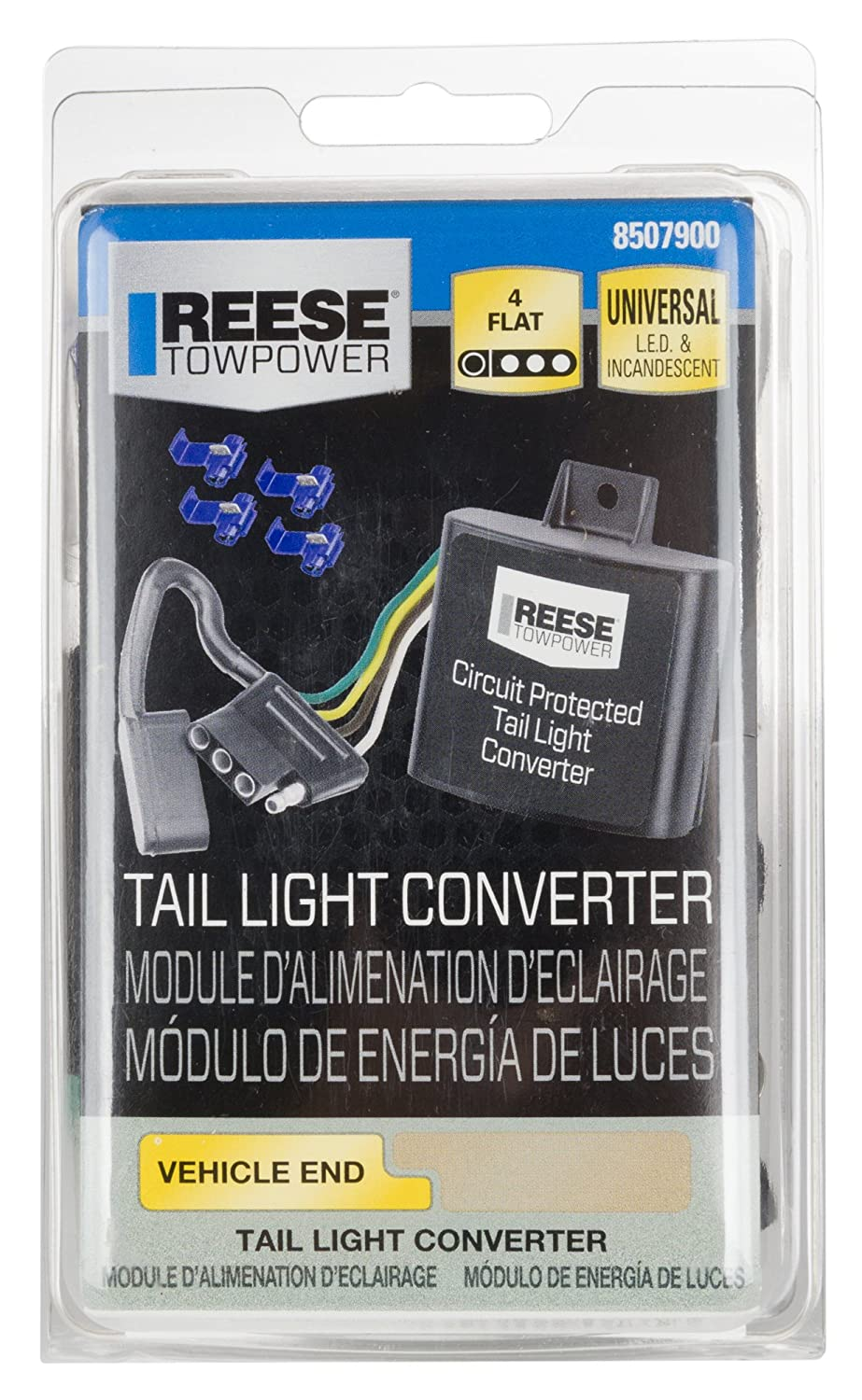Towingr 48925 74quot Tail Light Converter With 4wire Flat Extension