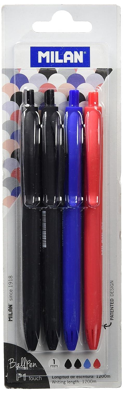 Blister 4 bolígrafos P1 Touch (2 x Negro, Azul y Rojo) Milan BWM10327