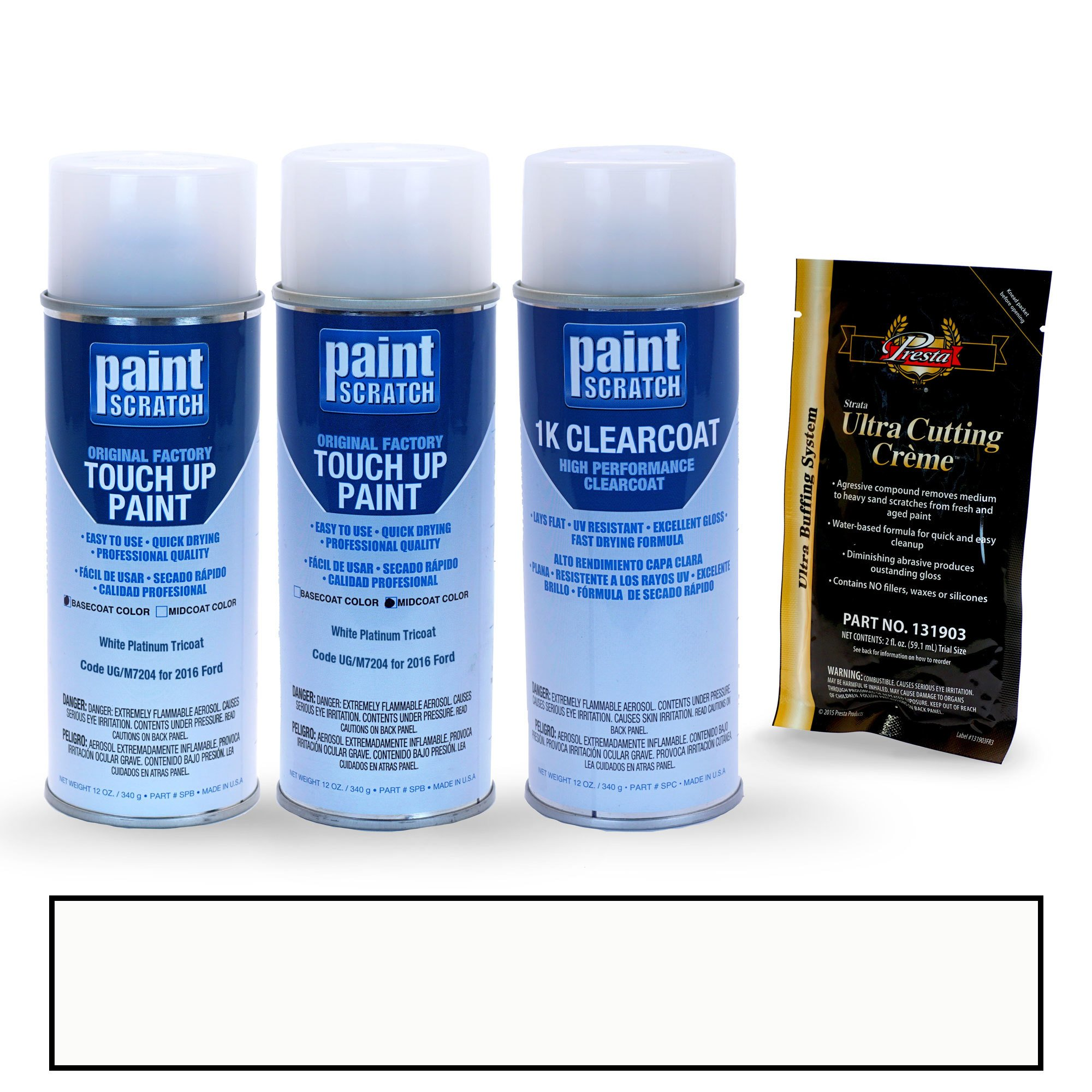 PAINTSCRATCH White Platinum Tricoat UG/M7204 for 2016 Ford F-Series - Touch Up Paint Spray Can Kit - Original Factory OEM Automotive Paint - Color Match Guaranteed