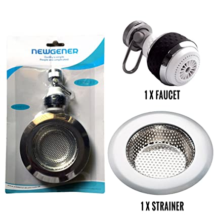 360 Degree Swivel Kitchen Sink Faucet Aerator With Drain Strainer